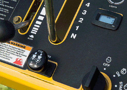 Close up of Commercial Walk-Behind mower control panel
