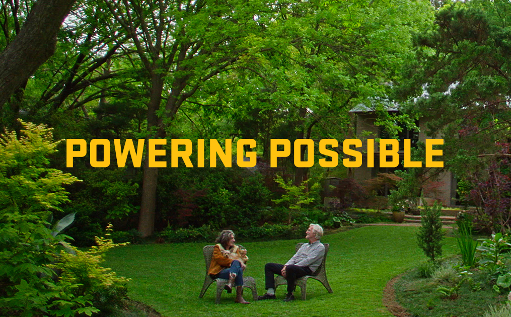 powering possible: man and woman siting