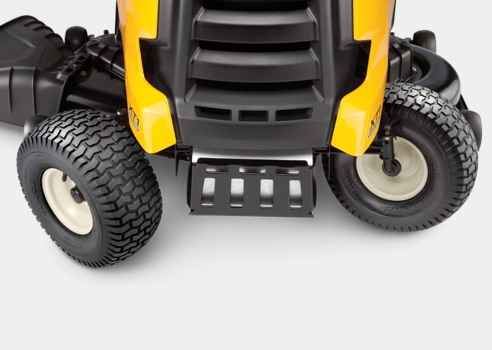 front of lawn tractor grill and tires turned sharply
