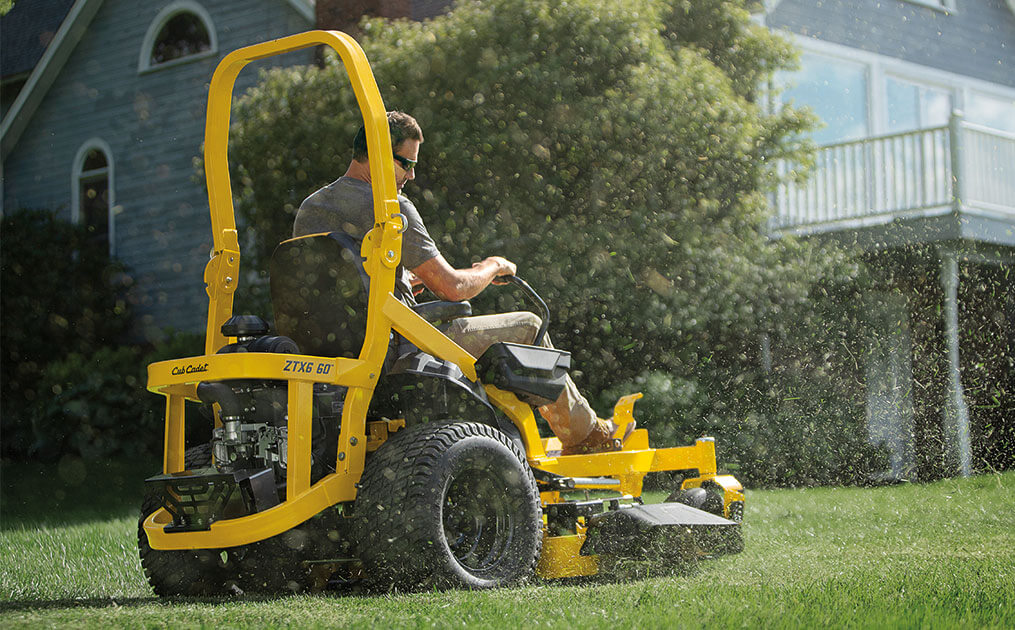 zero-turn mower with rops up