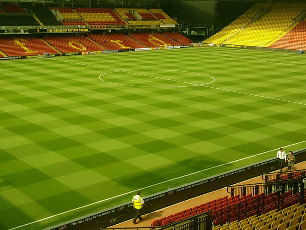 Professional soccer field with checkered pattern design
