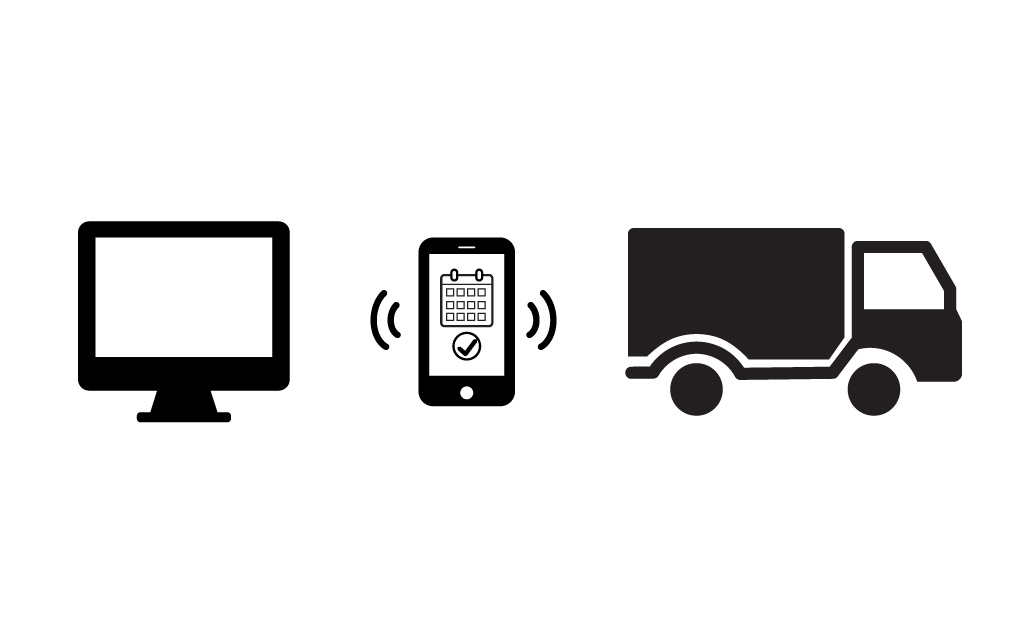 computer, phone, truck icons