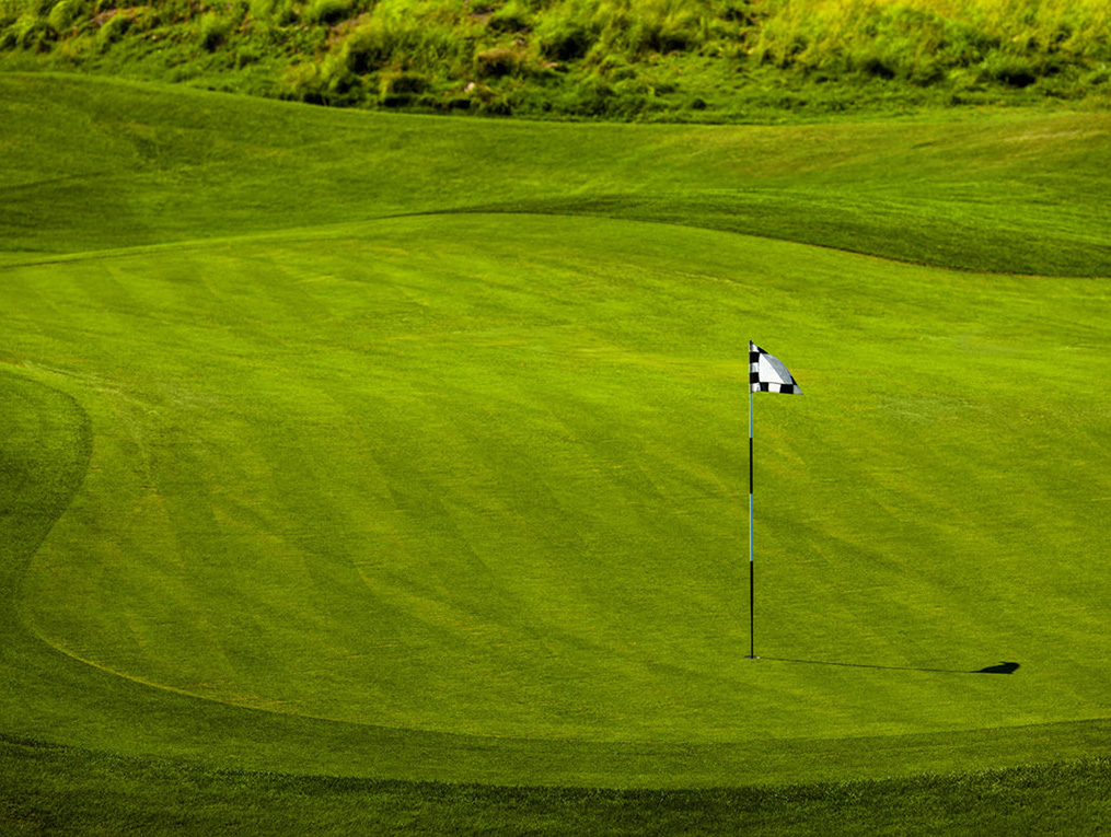 Pristine golf course with a black and white flag on the green