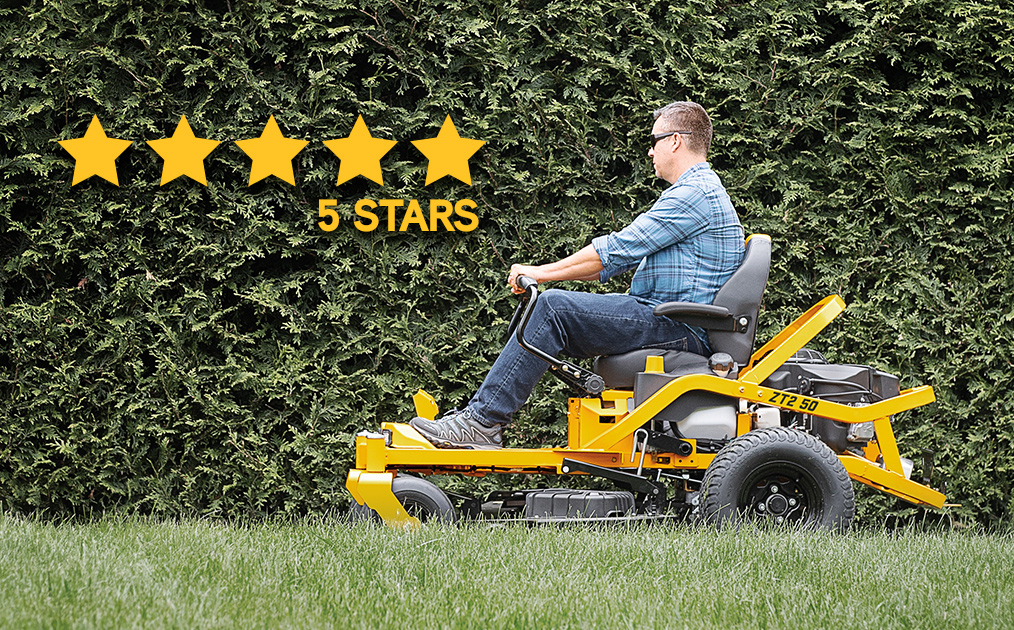 Man riding zero turn lawn mower with bar steering ultima-ratings-reviews