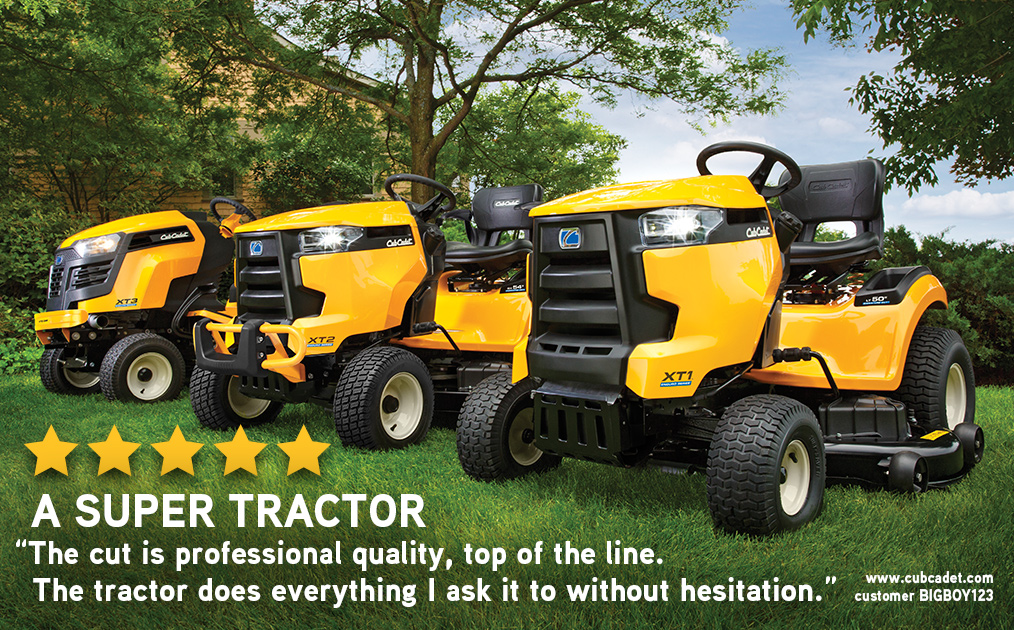 Image of three lawn tractors and a customer review