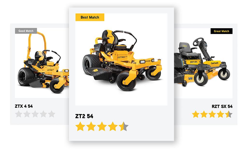 Two Cub Cadet Zero-Turn Mowers sitting on a law
